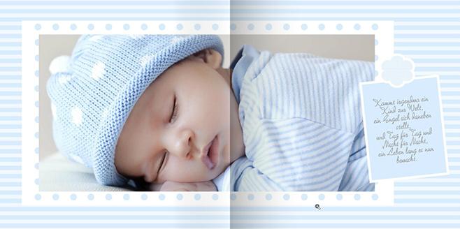 Mit sanften Farben und liebevollen Sprüchen oder Gedichten könen Sie Ihrem Baby-Fotobuch einen ganz besonderen Charme verleihen.